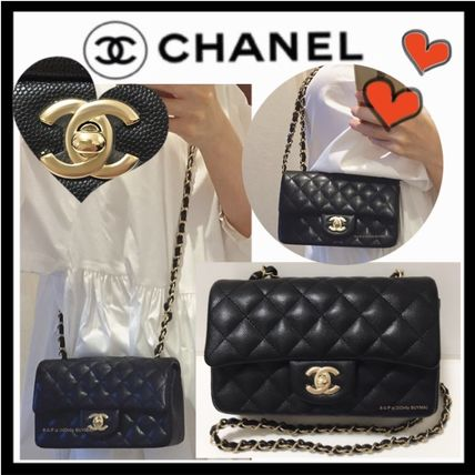 CHANEL Shoulder Bags Calfskin Chain Plain Elegant Style Shoulder Bags