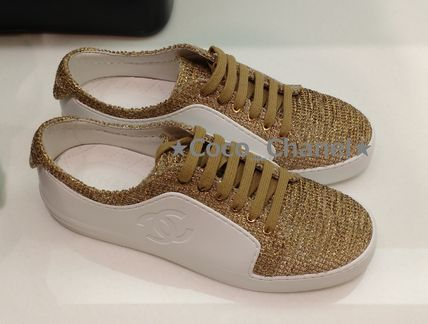 CHANEL Low-Top Casual Style Blended Fabrics Plain Low-Top Sneakers