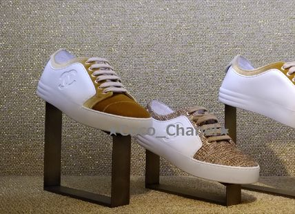 CHANEL Low-Top Casual Style Blended Fabrics Plain Low-Top Sneakers 2