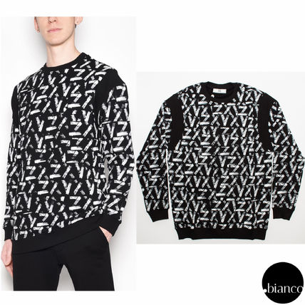Crew Neck Monoglam Street Style Collaboration Bi-color