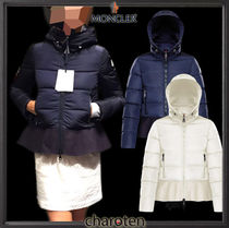 MONCLER NESEA Short Casual Style Blended Fabrics Plain Down Jackets