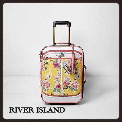 River Island yellow floral suitcase