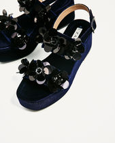 ZARA Flower Patterns Open Toe Velvet Party Style With Jewels Sabo