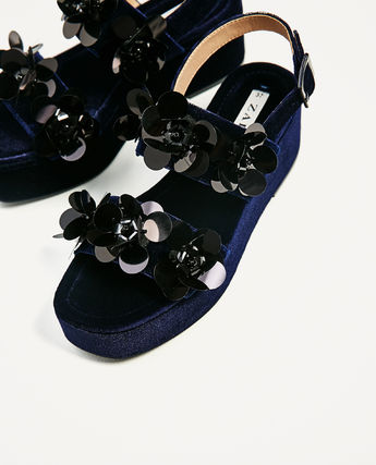 Velor flower wedge sandals shoes