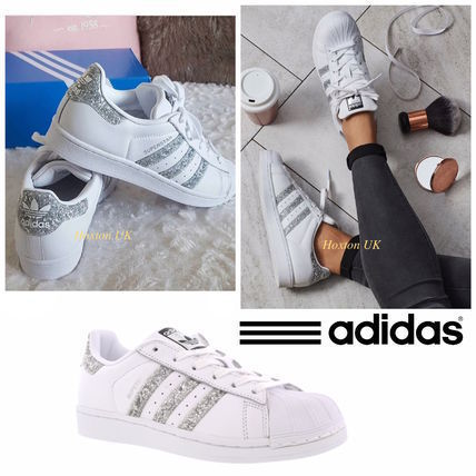 adidas SUPERSTAR Round Toe Casual Style Street Style Bi-color Plain Leather