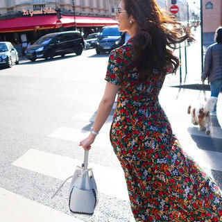 Blog flower pattern dress gown