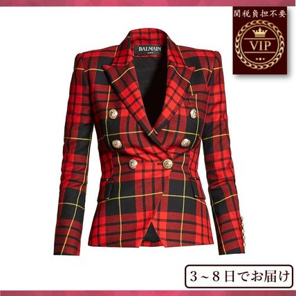 Just arrive Double-breasted checked URB leather