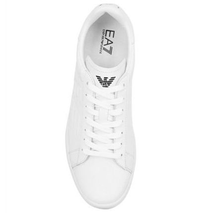 EA7 classic leather sneakers white blue