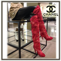 CHANEL Pin Heels Elegant Style Over-the-Knee Boots