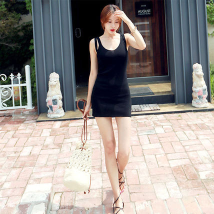 Dresses Short Casual Style Tight Sleeveless Street Style V-Neck 2