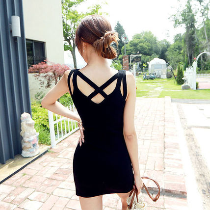 Dresses Short Casual Style Tight Sleeveless Street Style V-Neck 3