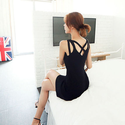 Dresses Short Casual Style Tight Sleeveless Street Style V-Neck 5