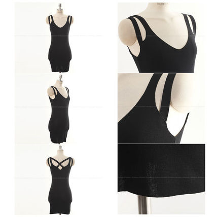 Dresses Short Casual Style Tight Sleeveless Street Style V-Neck 8