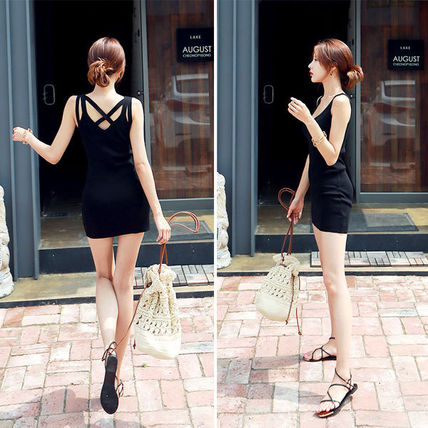 Dresses Short Casual Style Tight Sleeveless Street Style V-Neck 9