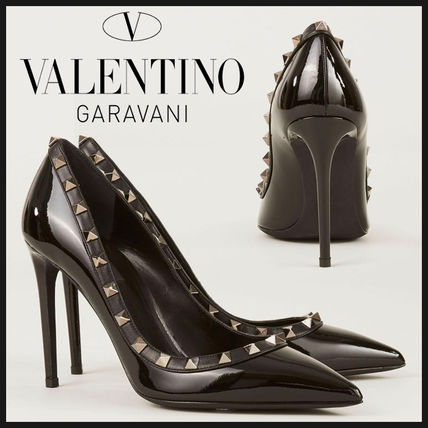pretty cool good selling fashion style VALENTINO Studded Plain Leather Pin Heels Elegant Style by remiuex ...