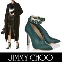 Jimmy Choo Studded Plain Leather Pin Heels Elegant Style