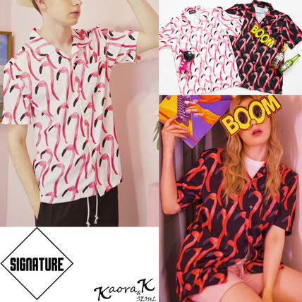 Button-down Tropical Patterns Unisex Street Style