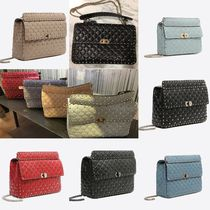 VALENTINO A4 2WAY Chain Plain Leather Elegant Style Shoulder Bags