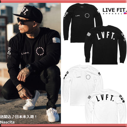Live Fit Crew Neck Long Sleeves Plain Cotton Logos on the Sleeves