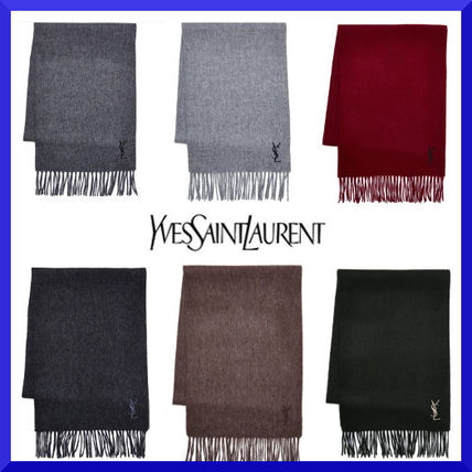 Saint Laurent Unisex Wool Plain Elegant Style Heavy Scarves & Shawls