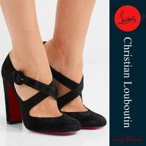 Christian Louboutin Round Toe Casual Style Suede Chunky Heels