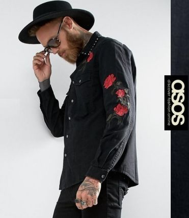 ASOS Flower Patterns Denim Street Style Long Sleeves Shirts