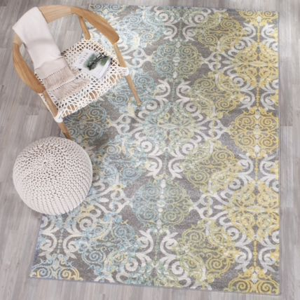 Colorful vintage damask design rug 155x