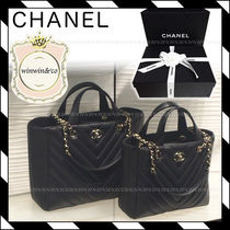 CHANEL ICON Leather Office Style Handbags