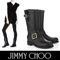 Jimmy Choo Round Toe Casual Style Plain Leather Flat Boots