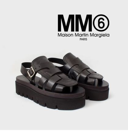 MM6 black platform thick bottom sandals