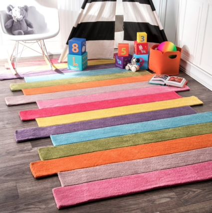 Cute kids room with colorful stripes rug 152x
