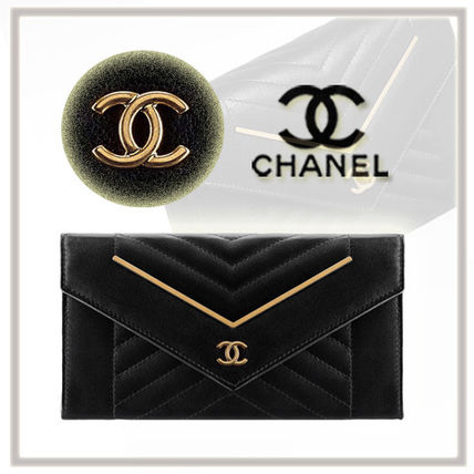 CHANEL Unisex Lambskin Plain Long Wallets