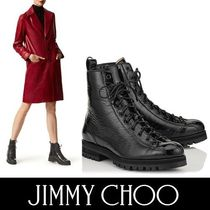 Jimmy Choo Round Toe Casual Style Enamel Plain Ankle & Booties Boots
