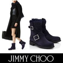 Jimmy Choo Round Toe Casual Style Suede Blended Fabrics Plain