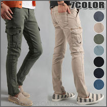 Plain Cotton Khaki Cargo Pants