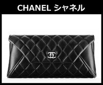 CHANEL TIMELESS CLASSICS Black/SHW Quilted Lambskin Clutch Bag