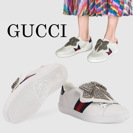 GUCCI Leather With Jewels Low-Top Sneakers