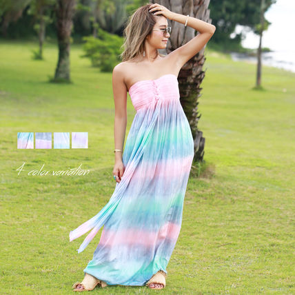 Tropical Patterns Casual Style Maxi Halter Neck Tie-dye Long