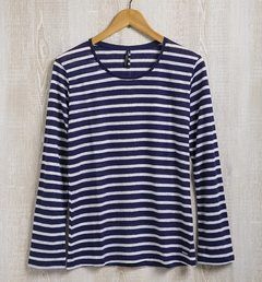 Stripes Casual Style Linen Long Sleeves T-Shirts