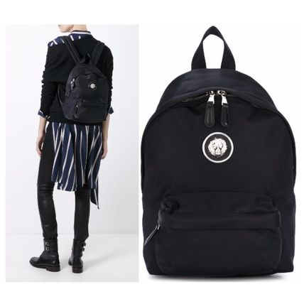 VERSUS VERSACE logo metal backpack black