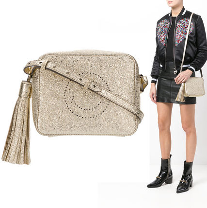 Unisex Lambskin Party Style Shoulder Bags