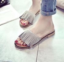 Open Toe Rubber Sole Casual Style Suede Street Style Plain