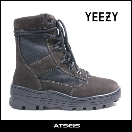 Camouflage Mountain Boots Suede Street Style Plain