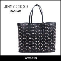 Jimmy Choo Star Casual Style Street Style A4 Leather Totes