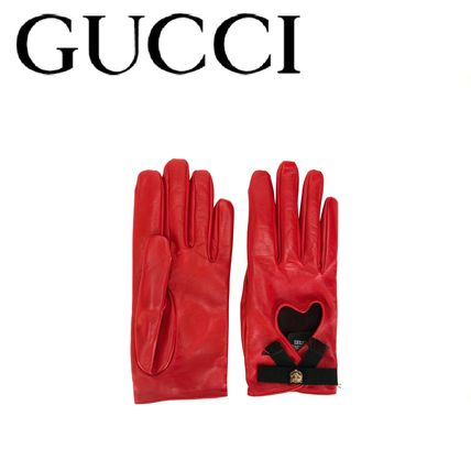 GUCCI heart cut out gloves Ribbon decorative leather gloves