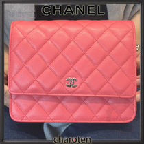 CHANEL CHAIN WALLET Pink/SHW Caviar Skin Classic Quilted Wallet On Chain