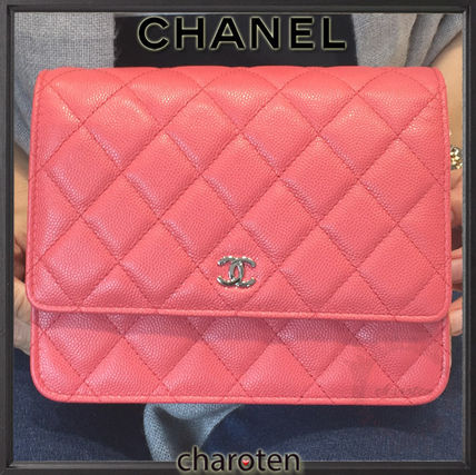 CHANEL Shoulder Bags Pink/SHW Caviar Skin Classic Quilted Wallet On Chain 2