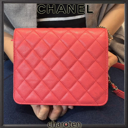 CHANEL Shoulder Bags Pink/SHW Caviar Skin Classic Quilted Wallet On Chain 4