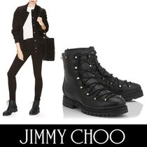 Jimmy Choo Round Toe Casual Style Studded Plain Leather