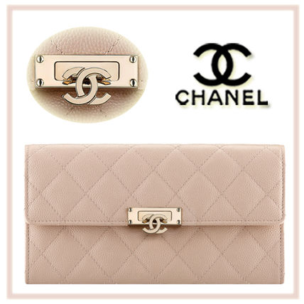 CHANEL MATELASSE Calfskin Plain Long Wallets